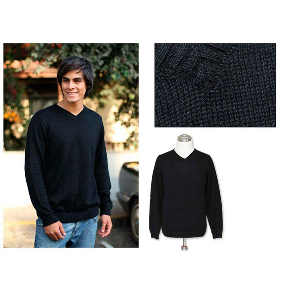 Handmade Men's Alpaca Blend 'Ebony' Sweater (Peru)