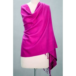 Wool and Silk 'Hot Orchid' Shawl (India)