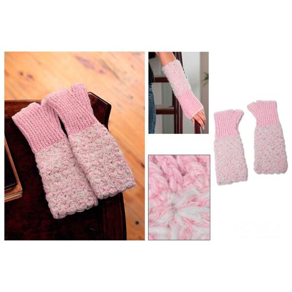 Alpaca 'Lovely Rose' Fingerless Gloves (Peru)