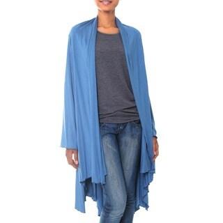 Handmade Rayon Jersey 'Sapphire Grace' Jacket (Indonesia)