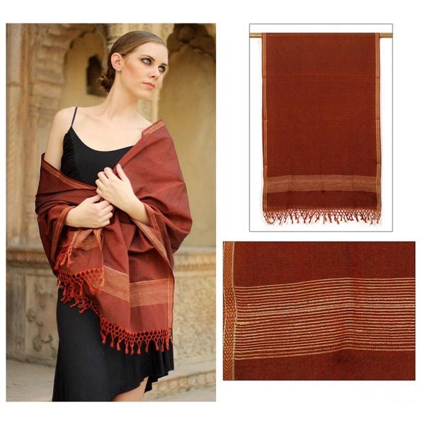 Cotton and Silk 'Indore Autumn' Shawl (India)