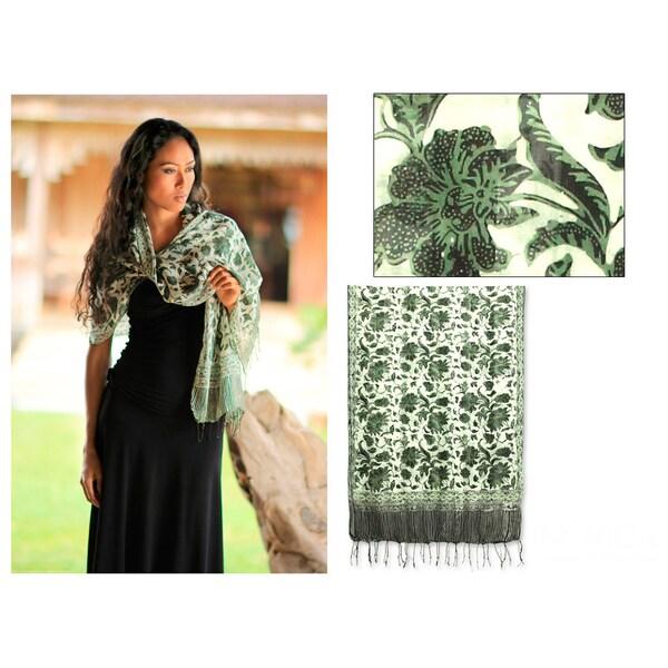 Silk 'Kawista Flowers' Scarf (Indonesia)