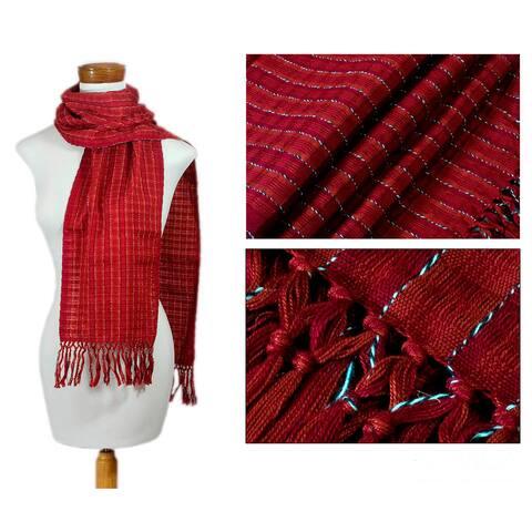 Handmade Cotton 'Scarlet Antigua' Scarf (Guatemala)