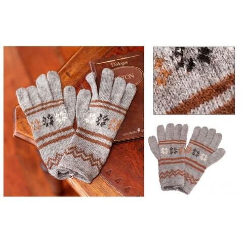 Handmade Alpaca Blend 'Gentle Clouds' Gloves (Peru)