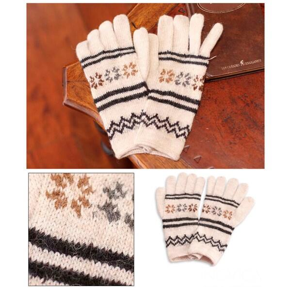 Alpaca Blend 'Ivory Clouds' Gloves (Peru)