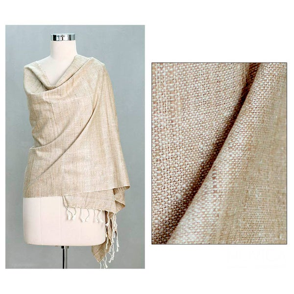 Handcrafted Silk 'Natural Bhagalpur' Shawl (India)