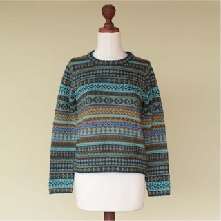 Handmade Alpaca 'Andean Lakes' Sweater (Peru)