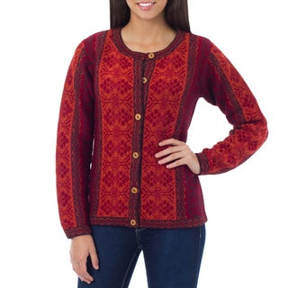 Andean Sunset Multicolor Red Orange and Burgundy Fair Isle Style 100% Alpaca Wool Long Sleeve Womens Buttoned Cardigan (Peru)