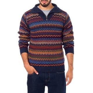 Mountain Life Multicolor Patterned 100-percent Alpaca Wool Casual Collared Long Sleeve Quarter-zip Mens Pullover Sweater (Peru)