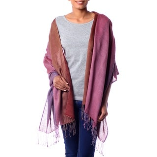 Silk and Wool 'Twilight Shimmer' Shawl (India)