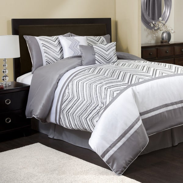 Lush Decor Evening Grace Gray/White 6-piece Comforter Set - White