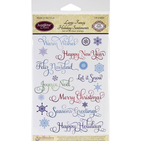 JustRite Stampers 'Large Fancy Holiday Sentiments' Clear Stamp Set