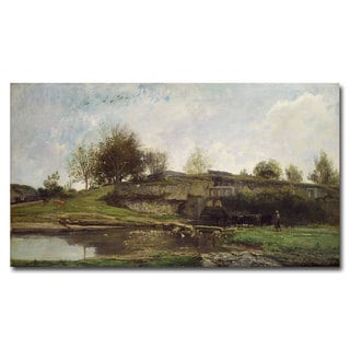Charles Daubigny THe Lock at Optevoz 1855' Canvas Art