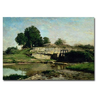 Charles Daubigny 'The Lock at Optevoz 1859' Canvas