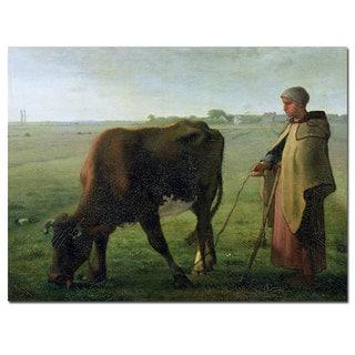 Jean Millet 'Woman Grazing Her Cow, 1858' Canvas Art