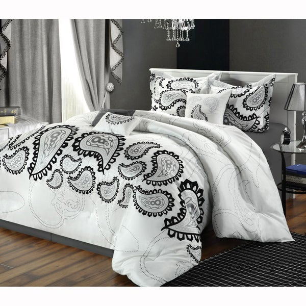 Taj Black 8-piece Paisley Comforter Set