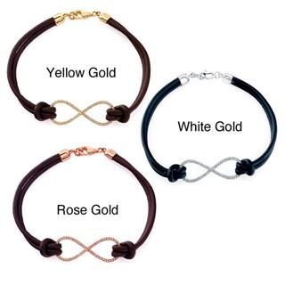 Victoria Kay 14k Gold 1/5ct TDW White Diamond Leather Infinity Bracelet
