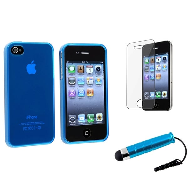 INSTEN Blue Phone Case Cover Set for Apple iPhone 4/ 4S