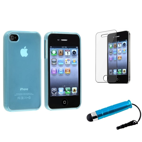 INSTEN Light Blue Phone Case Cover/ Screen Protector/ Stylus for Apple iPhone 4/ 4S