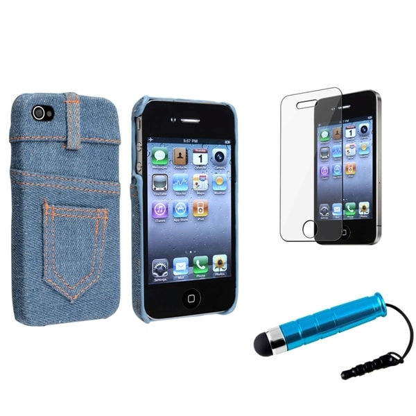 BasAcc Blue Jeans Case/Screen Protector/Stylus for Apple iPhone 4/ 4S