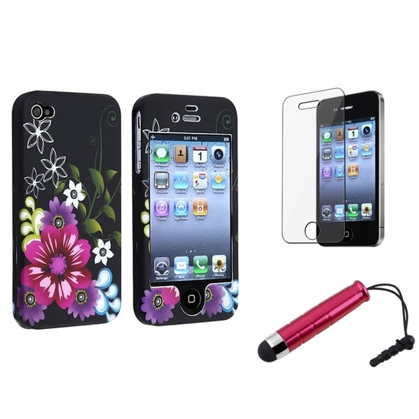 BasAcc Red Rubber Case/Screen Protector/Stylus for Apple iPhone 4/ 4S
