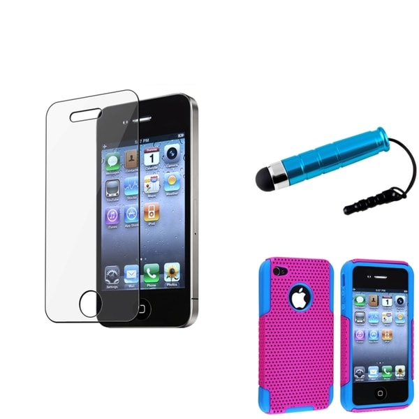 BasAcc Hybrid Pink-and-Blue Case/Screen Protector/Stylus for Apple iPhone 4/4S