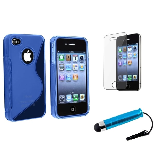 INSTEN Metallic Blue Phone Case Cover/ Screen Protector/ Stylus for Apple iPhone 4/ 4S