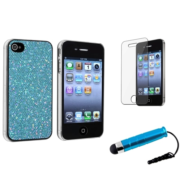 BasAcc Blue Bling Rear Case/Screen Protector/Stylus for Apple iPhone 4/4S