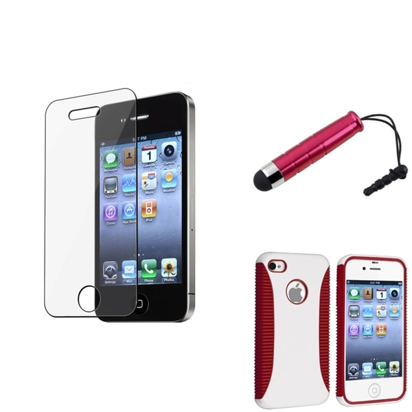 BasAcc Hybrid Red-and-White Case/Screen Protector/Stylus for Apple iPhone 4/4S