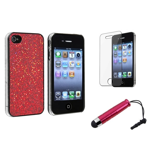 BasAcc Red Case/ Screen Protector/ Stylus for Apple® iPhone 4/ 4S