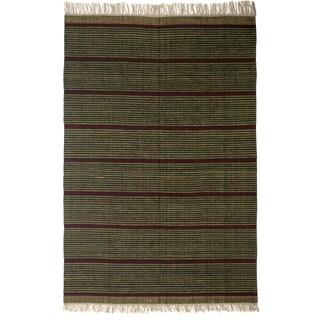 Flatweave Newlands Green Stripe Egyptian Wool Rug (6' x 9') (Egypt)