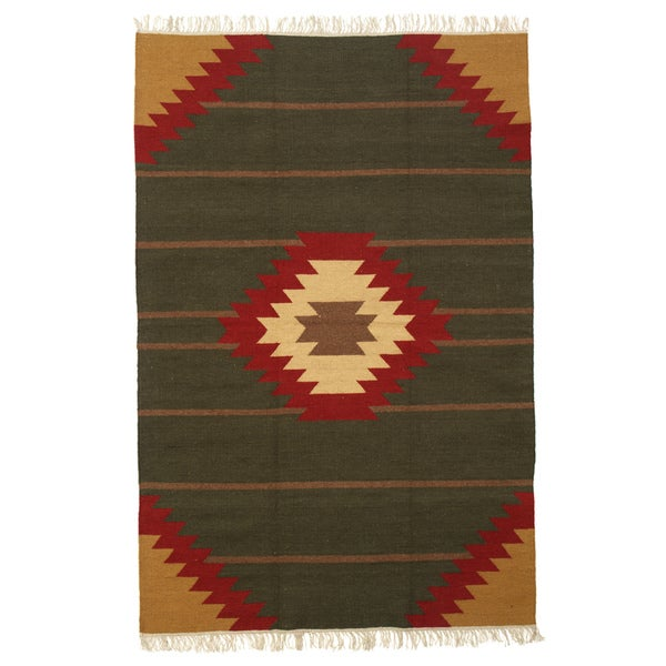 Cheyenne Green, Camel and Red Flatweave 100-percent Egyptian Wool Rug (6' x 9')