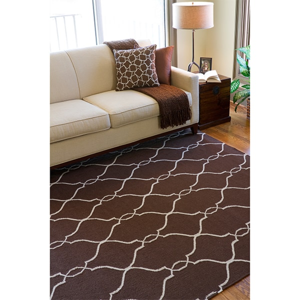 Hand woven Monterey Brown Flatweave Wool Area Rug