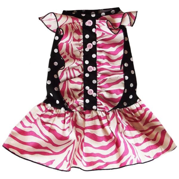 AnnLoren Zebra and Polka Dot Ruffled Dog Dress