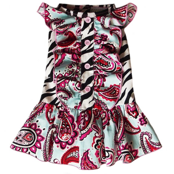 AnnLoren Zebra and Paisley Ruffled Dog Dress