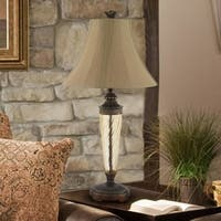 Waterford Bronze-finished Metal/Glass Table Lamp with Beige Fabric Shade