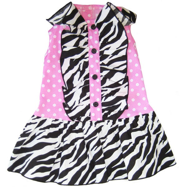 AnnLoren Zebra and Polka Dots Ruffled Dog Dress