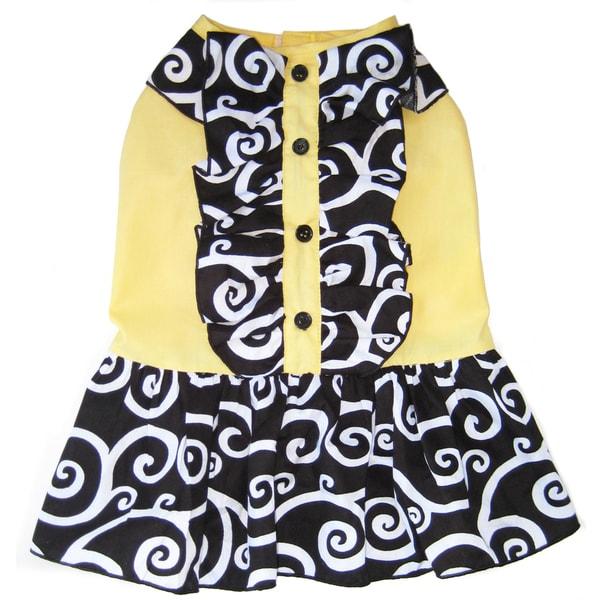 AnnLoren Mod Black and Yellow Swirl Ruffled Dog Dress