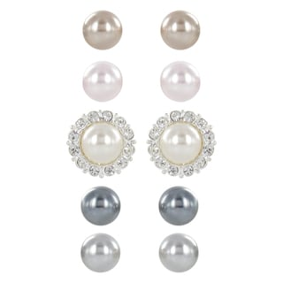 Roman Faux Pearl Interchangeable Crystal Setting 5-pair Earring Set