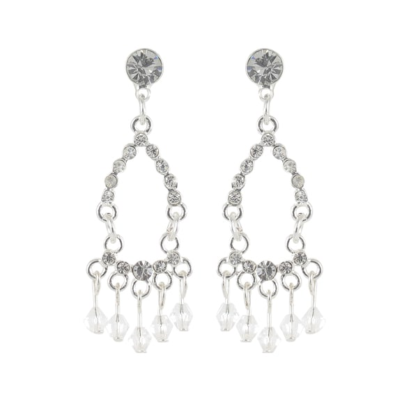 Roman Silvertone Faceted Clear Crystal Beaded Chandelier Earrings
