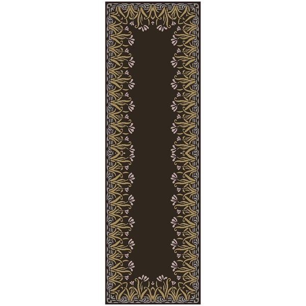 Hand-tufted Boxen Floral Border Wool Rug