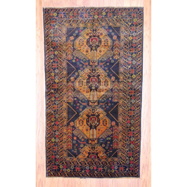 Afghan Hand-knotted Tribal Balouchi Navy/ Brown Wool Rug (3'8 x 6'6)