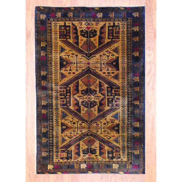 Afghan Hand-knotted Tribal Balouchi Brown/ Red Wool Rug (3'9 x 5'6)
