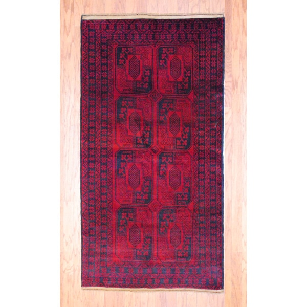 Herat Oriental Afghan Hand-knotted Tribal Balouchi Red/ Black Wool Rug (3'6 x 6'7)