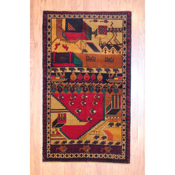 Afghan Hand-knotted Tribal Balouchi Red/ Brown Wool Rug (3'7 x 6'2)