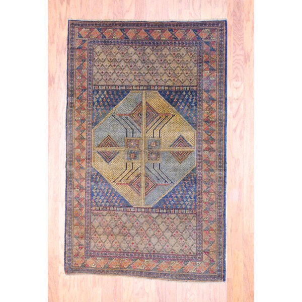 Afghan Hand-knotted Tribal Balouchi Light Brown/ Light Blue Wool Rug (3'9 x 6')