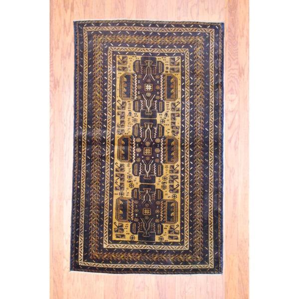 Herat Oriental Afghan Hand-knotted Tribal Balouchi Beige/ Navy Wool Rug (3'9 x 6'3)