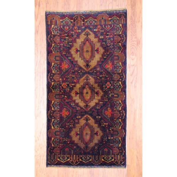 Afghan Hand-knotted Tribal Balouchi Navy/ Burgundy Wool Rug (3'4 x 6'7)