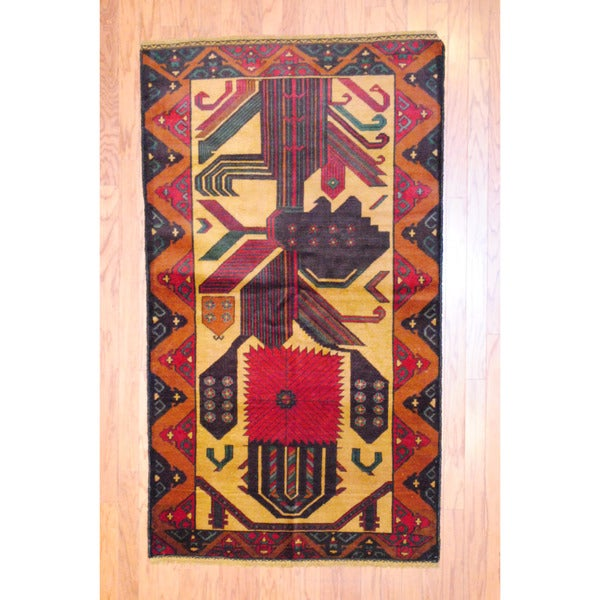 Afghan Hand-knotted Tribal Balouchi Beige/ Red Wool Rug (3'7 x 6'6)