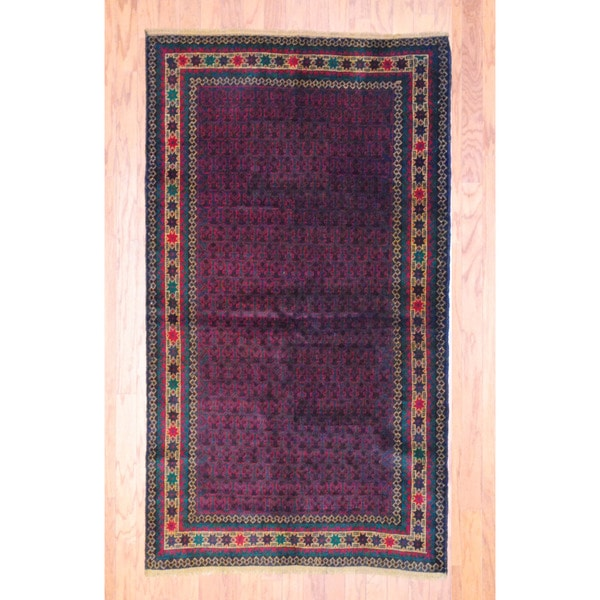 Afghan Hand-knotted Tribal Balouchi Burgundy/ Black Wool Rug (3'8 x 6'6)